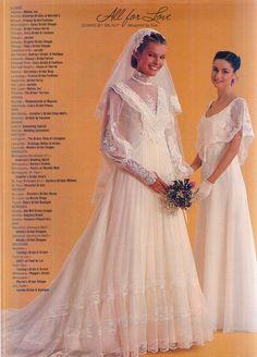 Brides Magazine December 1981 – Her Telden News 1980s Wedding Dress, Wedding Dress Sleeves, Designer Wedding Dresses, Bridal Dresses, Wedding Gowns, Vestidos Vintage, Vintage Dresses, Vintage Bridal, Retro