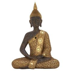 DecMode Rustic Detailed Polystone Sitting Buddha Sculpture with Mirrored Accents - 44304