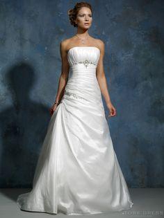 Royal A-Line Strapless Sweep/Brush Satin Wedding Dress - Storedress.com