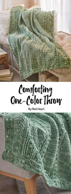 Comforting One-Color Throw free crochet pattern in Super Saver yarn.