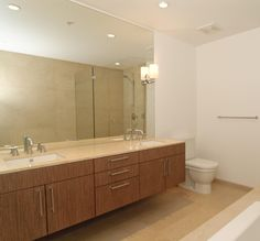 Long Wooden Vanity With Storage And Double Sinks