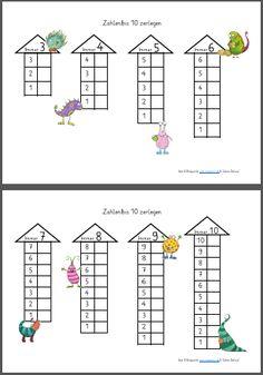 Zahlenzerlegung bis 10 - - Number decomposition up to 10 - - Math Addition Worksheets, Kindergarten Math Worksheets, Pre Kindergarten, Preschool Math, Teaching Math, Math Activities, Math Math, Montessori Math, 1st Grade Math