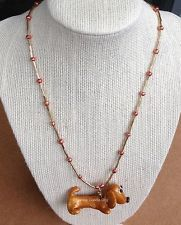 FRANKIE DOODLE DOG! #1,795 Dachshund Sculpture Handmade Beaded Necklace ($45.00 bid)