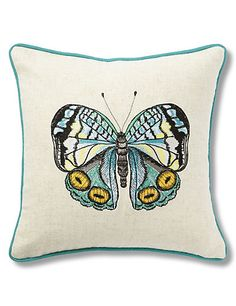 Mini Embroidered Butterfly Cushion