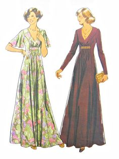 Vintage 1977 Style 2077 Misses' Flared Maxi Dress with Long or Short Sleeves Sewing Pattern Sizes 10-12