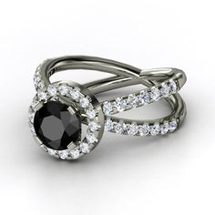 Orbit Ring Round Black Diamond 14K White Gold Ring with Diamond