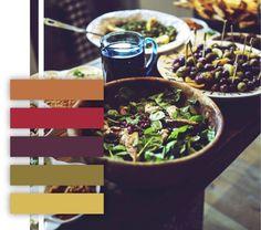Salad color palette, rustic color scheme, neutral colors, dinner table, orange, red, purple, green, lime