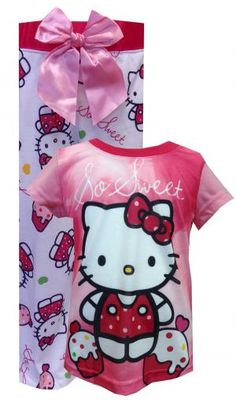 Hello Kitty So Sweet Pajamas  So sweet! These flame resistant pajamas for girls feature Hello Kitty and yummy looking cupcakes. Coordinating long pant has Kitty surrounded by cupcakes hearts. Classic crew neck styling on the top ans pants feature a giant pink satin bow and a wide satin elasticized waistband. Machine wash, easy care. $20