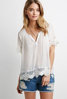 Contemporary Embroidered Lace-Trimmed Top | Forever 21 - 2049257485