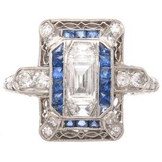 Art Deco Diamond Sapphire Platinum Ring   From a unique collection of vintage cocktail rings at https://www.1stdibs.com/jewelry/rings/cocktail-rings/