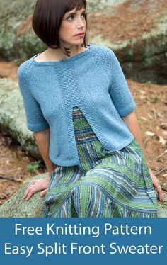 """Free knitting pattern for short sleeved pullover with a split front flares out slightly to give a cardigan look. Rated easy by Ravelrers. Worsted weight yarn. Sizes Bust: 32 (36, 40, 44, 48, 52)"""". Designed by Cathy Payson Sweater Knitting Patterns, Free Knitting, Crochet Tank, Knit Crochet, Cardigans, Sweaters, Yarn Sizes, Pullover, Draping"""