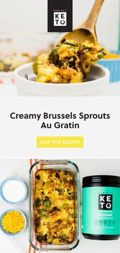 Keto Creamy Brussels Sprouts Au Gratin Recipe: Brussels sprouts gratin are the perfect replacement for potatoes au gratin. Add in shallots, pancetta, or pecans to this side dish for extra flavor. Lunch Recipes, New Recipes, Eating Vegetables, Keto Side Dishes, Low Carb Lunch, Grass Fed Butter, Vegan Keto, Brussels Sprouts, Keto Dinner