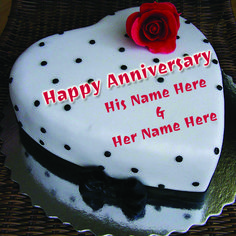 Write Your Name On Anniversary Red Rose love heart Cake.Edit your and your loved one name on wedding anniversary cake.wedding anniversary cake with red rose hea