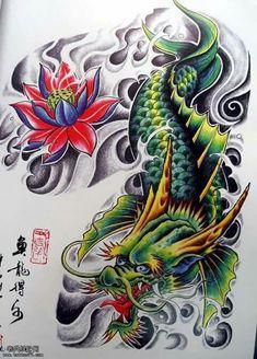 Koi Fish Tattoo Forearm, Koi Dragon Tattoo, Dragon Fish, Japanese Dragon Tattoos, Japanese Tattoo Art, Japanese Tattoo Designs, Best Sleeve Tattoos, Leg Tattoos, Body Art Tattoos