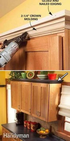 Old kitchen cabinets - Home remodeling diy - Decorating above kitchen cabinets - Above kitchen c Decorating Above Kitchen Cabinets, Old Kitchen Cabinets, Kitchen Redo, Kitchen Furniture, Kitchen Remodel, Soapstone Kitchen, Kitchen Countertops, Kitchen Ideas, Brown Cabinets
