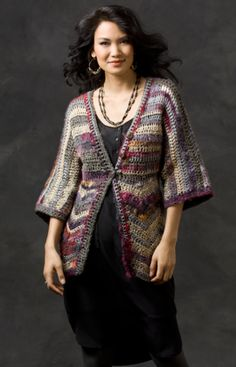 Free pattern from Red Heart for this Chevron Jacket...I Like It!