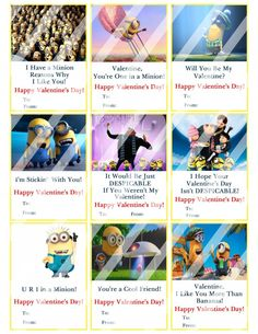 Despicable Me Minions Valentines Day Cards #3 (instant download or printed)