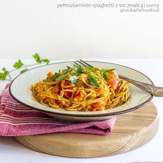 pełnoziarniste spaghetti z soczewicą