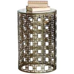 Prima Brass Accent Table with Geometric Pattern