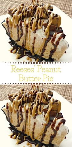 this Reese's Peanut Butter Pie is sure to knock your socks off. With a delicious no-bake peanut butter cheesecake filling and topped with Reese's Miniatures, you can't go wrong with this easy dessert. Reese Peanut Butter Pie, Peanut Butter Desserts, Peanut Butter Lasagna, Chocolate Peanut Butter Cheesecake, Cookie Butter, Dessert Simple, Chocolate Graham Crackers, Chocolate Pies, Chocolate Peanutbutter Pie