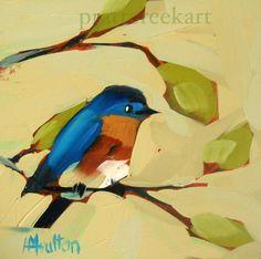 bluebird no 18 original painting by moulton 6 x 6 by prattcreekart, $40.00