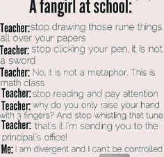 That second one is me. I keep clicking my pens when I'm bored saying COME ON RIPTIDE CHARGGGGGE and everyone stares at me. Heck, I even a round yellow eraser in my wallet (bcoz I cant draw on coins) with a sword drawn on one side and a lance on the other, wih the word IVLIVS on both sides to represent Jason Grace's weapon. Also, I randomly take a pen and I join my friends and we start pointing the pens at the people in our class that we hate and shout AVADA KEDAVRAAAAAAAAAAA