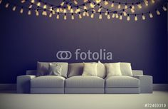 3d render of interior with garland
