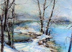 Watercolor Water, Winter Art, Winter Landscape, Cubism, Stone Painting, Abstract Art, Art Gallery, Prints, Pastel Paintings