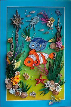 Neli Quilling Art: Seabed  ( 23 cm  - 15  cm)