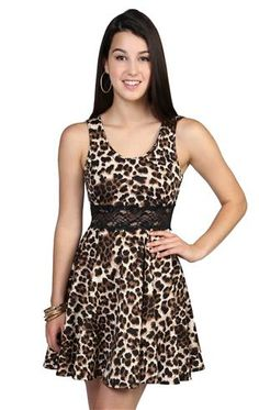 Deb Shops all over #cheetah print dress with scoop neck lace illusion waist skater skirt  $20.17