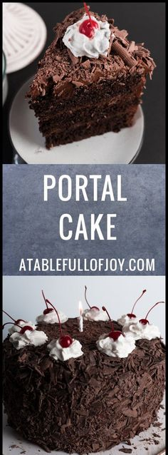 Homemade Chocolate Cake, This homemade chocolate cake is over the top chocolaty and decorated to look like the cake from Portal! It is a three layer dark chocolate cake frosted with the best milk chocolate frosting! It is rich, moist and one of the best chocolate cakes ever! #portal #cake #cakedecorating #chocolate #chocolatecake #frosting #atablefullofjoy