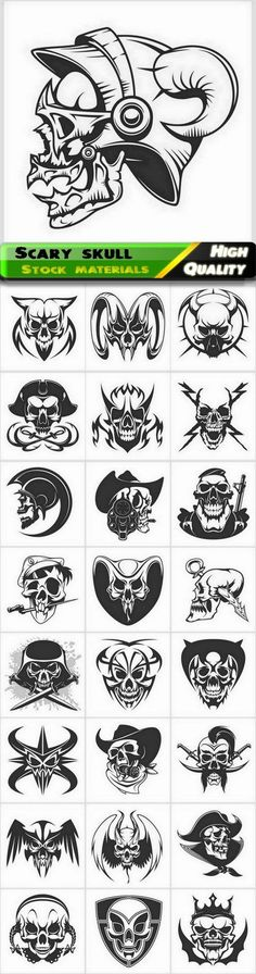 Skull and skeleton of people and animal for t-shirt print - 25 Eps