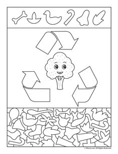 Please Recycle Preschool Activity Page - DIY Recycling Free Kindergarten Worksheets, Worksheets For Kids, Hidden Pictures Printables, Sudoku, Recycling For Kids, Recycled Crafts Kids, Preschool Activities, Earth Day, Coloring Books