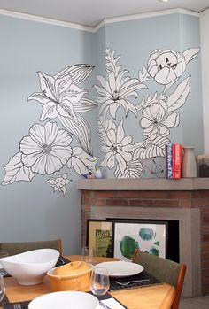 Dining Room Flowers - by Mural artist Wendycampbell.ca