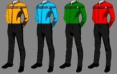 Alternate Starfleet uniforms by Corem on DeviantArt Star Trek Voyager, Star Trek Data, Star Wars, Star Trek Universe, For Stars, Science Fiction, Concept Art, History, Casual Wear