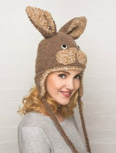 Knitted Bunny Hat- free pattern from February's Crafts Beautiful! From Crocheted Animal Hats by Vanessa Mooncie