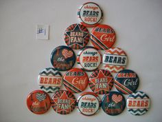 "15 ct 1"" Chicago Bears Inspired Buttons Pinbacks Flatbacks crafts hairbows"