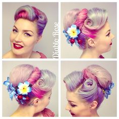 Model and hair- Diablo Rose - Pin Up Model Hibiscus and cherry flower from Bad Kitty http://bad-kitty.co.uk/