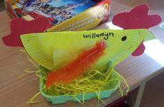 Gotta love this just b/c it is a chicken! Easter Crafts For Kids, Toddler Crafts, Preschool Crafts, Babysitting Activities, Kindergarten, Bird Crafts, Paper Plate Crafts, Crafty Kids, Easter Baskets