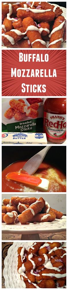 Buffalo Mozzarella Sticks - crispy fried mozzarella sticks smothered in homemade Buffalo wing sauce; a crowd pleaser for sure! Finger Food Appetizers, Appetizer Recipes, Snack Recipes, Dessert Recipes, Cooking Recipes, Cooking Tips, Desserts, I Love Food, Good Food