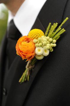 yellow brunia, billy balls and ranunculus boutonniere Ranunculus Boutonniere, White Boutonniere, Corsage And Boutonniere, Groom Boutonniere, Boutonnieres, Orange Wedding, Floral Wedding, Fall Wedding, Wedding Flowers