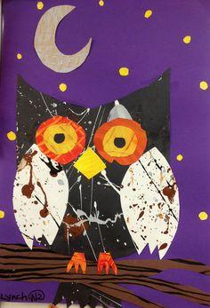 grade art paper collage more artworks for kids рисунки, Fall Art Projects, Animal Art Projects, Owl Art, Bird Art, Splatter Art, 2nd Grade Art, Ecole Art, Kids Artwork, Kindergarten Art