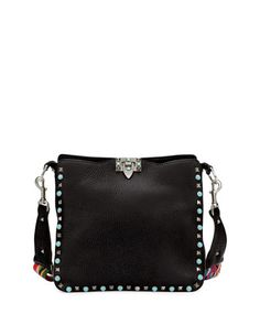 Rockstud Rolling Small Flip-Lock Hobo Bag, Black by Valentino Garavani at Neiman Marcus.
