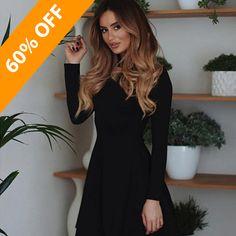 e4a831a536 Fall Fashion 2018 Women Long Sleeve Bodycon O-neck Casual Dress Winter  Vintage Sexy Mini Party Dresses Autumn Clothes Vestidos