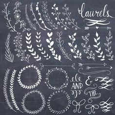 Chalkboard Laurels & Wreaths Clip Art // Clipart Photoshop Brushes // Hand Drawn // Ribbon Foliage Leaves // Vector Files // Commercial Use Chalkboard Lettering, Chalkboard Designs, Chalkboard Clipart, Chalkboard Doodles, Chalkboard Decor, Chalkboard Paper, Chalkboard Border, Chalkboard Writing, Art Floral