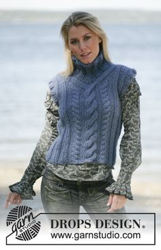 DROPS Tank top or jumper with cable pattern in Eskimo Free pattern by DROPS Design. Knitting Patterns Free, Knit Patterns, Free Knitting, Free Pattern, Magazine Drops, Knit Vest Pattern, Drops Design, Slip Over, Knitwear Fashion