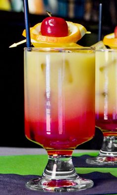 Mocktail recipe for a Virgin or Sweet Sunrise, a non-alcoholic mixed drink of orange juice and grenadine that is perfect for sweetening up breakfast or brunch.