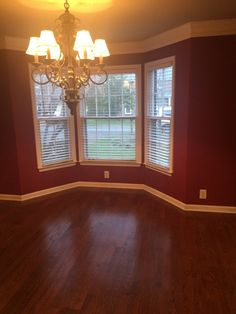 Before of the dark dining room, dated light fixture,