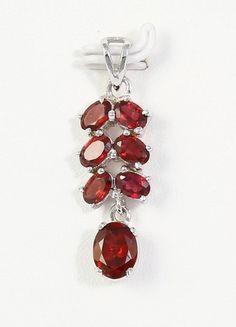 Large Natural Red Color Garnet Gemstone Necklace Pendant 925 Sterling Silver