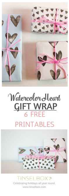 Free Printable Watercolor Heart Gift Wrap #valentinesideas #valentinesdaydecor #valentines